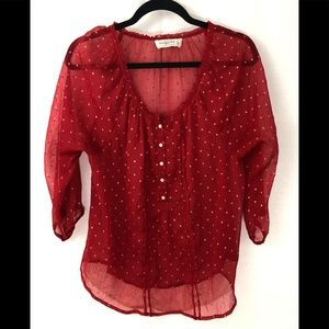 ❤️ 3/20 Red Abercrombie Chiffon Top
